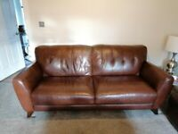 3 seater leather sofa, armchair and pouffe for sale