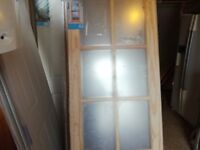 NEWLAND INTERNAL DOOR/78X30/8 LITE GLAZED/35MM THICK/SOFTWOOD/NATUAL FINISH/ NO OFFERS