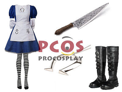 Best Set~ Alice: Madness Returns Classic Cosplay outfit Alice Costume & Necklace