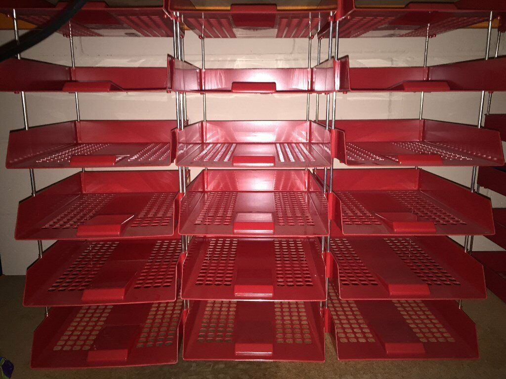 18 Red Plastic Stacking Letter Trays Complete with Riser Rods   in  Billericay, Essex   Gumtree