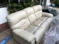 Leather sofa 3 seater with recline function