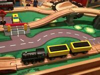 Children wooden tabletop train set