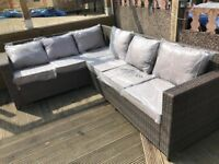 Brown L shaped rattan corner sofa - Outdoor garden patio sofa set - 6-7 seats - delivery
