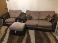 DFS 2 seater sofa-bed, 1 armchair, 1 footstool with storage