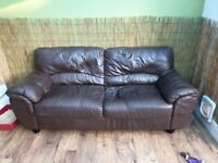 FREE 2 seater brown faux leather sofa