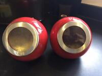 2 x large red kitchen containers