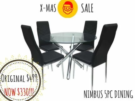 Nimbus 5pc Round Glass Dining Table Setting