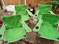 Set of 4 Summit camping chairs (lime green)