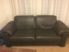 Brown Leather Sofa -3 Seater & 2 Chairs