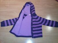 2-3 years jersey cotton lined buttoned cardigan with hood
