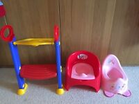 Toilet seat support and potties, meter toilet trainer
