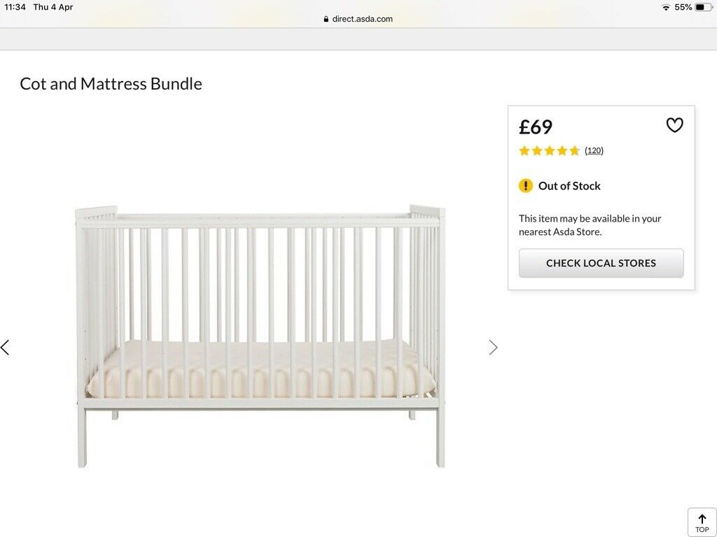 online store ed168 dfcc4 COT & MATTRESS - Asda George Home   in Thornhill, Cardiff   Gumtree