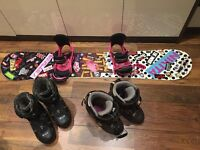 Snowboard, bindings and boots girls/women's/females