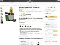 Nutri Ninja Blender with Auto IQ - Silver..new
