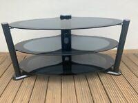 Designer 3 tier oval glass TV stand