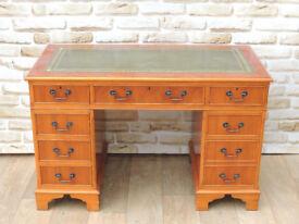 Pedestal Desk Comes in 3 parts Antique finish (Delivery)