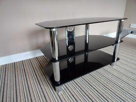 TV Stand Chrome & Black Glass