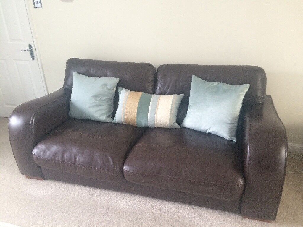 John lewis granada espresso brown leather sofa and 2 arm chairs