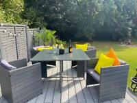 Grey Cube Rattan Garden Furniture Table and Chairs
