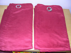 Maroon Faux Suede Curtains 90ins Wide x 84 ins Length