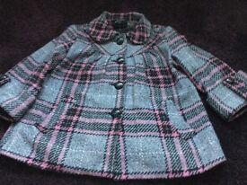 Women's Grey/ Pink / white / Black Check Jacket SIZE 12 3/4 Sleeve