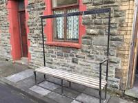 Changing room bench and coat hanger