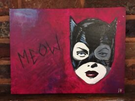 "Catwoman Acrylic Painting On Canvas - 12"" X 16"" - Batman Returns - Christmas - art - comic"