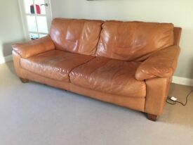 Tan/Brown Leather 3 Seater Sofa