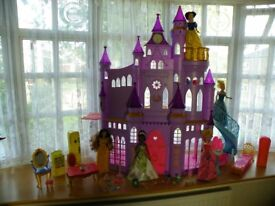 Disney Princess Ultimate Dream Castle with 4 Dolls & Furniture & Extras - VGC