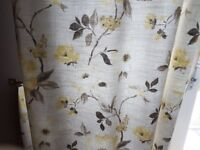 Lemon pattern flower curtains and gold pole