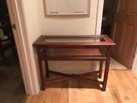 mahogany console table with glass top £70 ONO