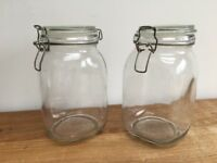2 x Glass Kilner style storage air tight jars / cannisters