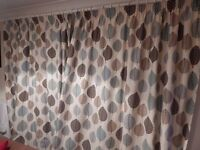 Curtains 90 x 90 inches with 2 matching lampshades - fully lined