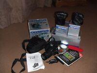 Olympus e-20p digital slr camera with lenses card case etc