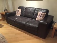 Brown leather 3 seater sofa, with armchair & pouffe