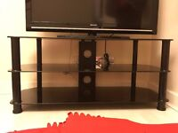TV Stand - Black Glass and Black Legs