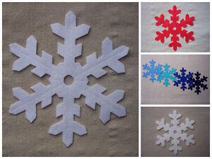 x4-FELT-LARGE-12-5cm-SNOWFLAKES-WHITE-die-cut-Christmas-decorations-appliques