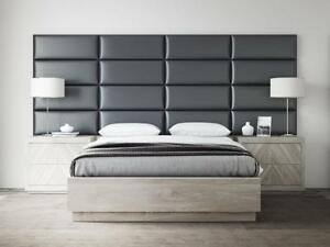 "NEW Vant 30"" Upholstered Headboard Wall Panels 4 Pack - Deluxe Leather Grey"