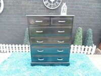 SOLID PINE FARMHOUSE CHEST OF DRAWERS WITH 4 DOVETAIL DRAWERS PAINTED IN BLACK COLOUR