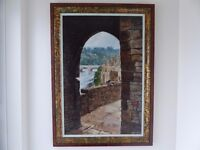 Large original oil painting of Chepstow Castle and the iron bridge over the Wye by Peter Trayler
