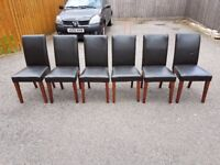 6 Brown Faux Leather Mid/High Back Chairs FREE DELIVERY 634