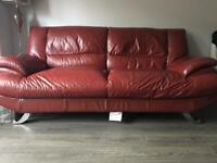 Red Leather Sofa Set Used But In Good Condition