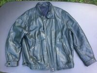 Men's Dark Blue Real Leather Jacket, padded lining