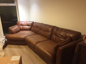 Leather Corner Sofa (comes in 2 parts) and Cosy Chair - John Lewis - Tan Brown