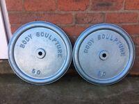 2 X BODY SCULPTURE 50LB CAST IRON WEIGHT PLATES