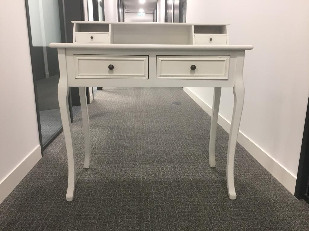 Shabby Chic White Writing Desk Dressing Table With 2 Drawers