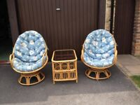 Conservatory Set 2 x swivel armchairs plus matching table