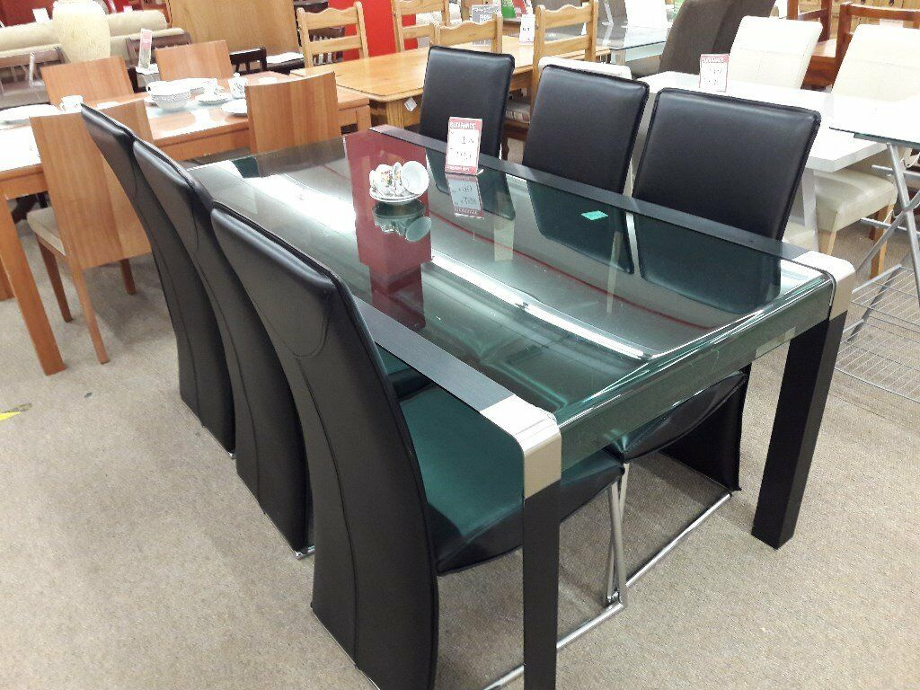 Glass Black Metal Dining Table And 6 Chairs