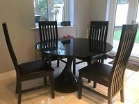 Dwell black gloss dining table and 4 chairs RRP£1299