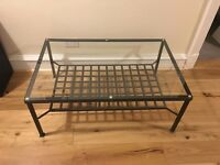 Glass and Metal Coffee Table with feature metal shelf